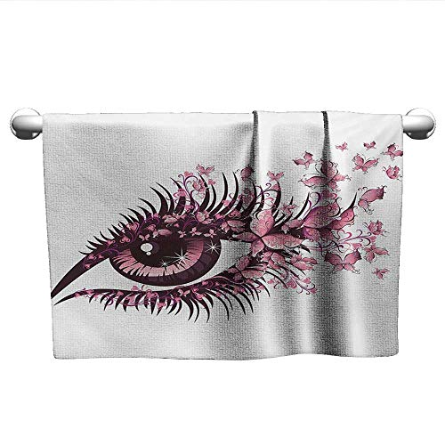Baby Towels Fairy Female Eye with Butterflies Eyelashes Mascara Stare Party Makeup Microfiber Towels for Body Pale Pink Purple W 28