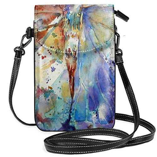 - Jeweled Butterfly Painting Women's Crossbody Cell Phone Purse Wallet Bag PU Leather Crossbody Purse Bags With Adjustable Strap For Travel
