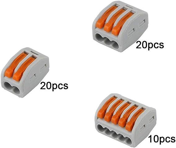 R/ápido Cable Conector Bloque Terminal 2 Puertos 11Pcs 5 Puertos 11Pcs cococity 44Pcs Resorte Conector Bloque Terminal Kit 4 Puertos 11Pcs 3 Puertos 11Pcs Conector Conductor Compacto