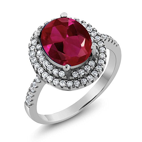 Gem Stone King 3.80 Ct Oval Red Created Ruby 925 Sterling Silver Ring (Size 8)