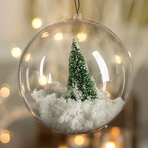 Plastic Ball Ornament, 80mm, Clear , Pack of 12 (80 mm) (Plastic Ornament Ball)