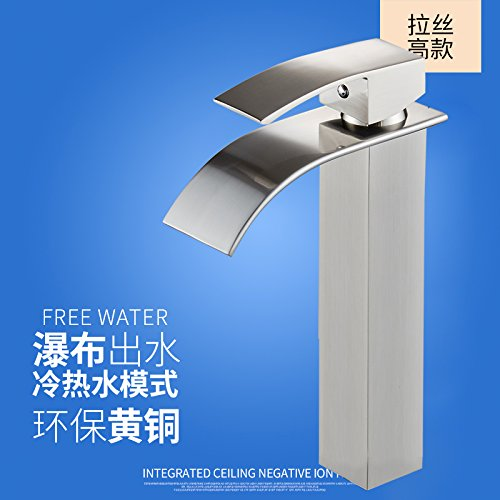 The Copper Plus High [Brushed -B- Hlluya Professional Sink Mixer Tap Kitchen Faucet The copper basin and cold water faucet waterfall faucet vanity area with sink and high surface basin faucet, Brass chrome Low -B