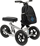 All Terrain KneeRover PRO Knee Walker - Steerable Aluminum Knee Scooter with Shock Technology and Deluxe Backpack - Heavy Duty Crutches Alternative - Silver