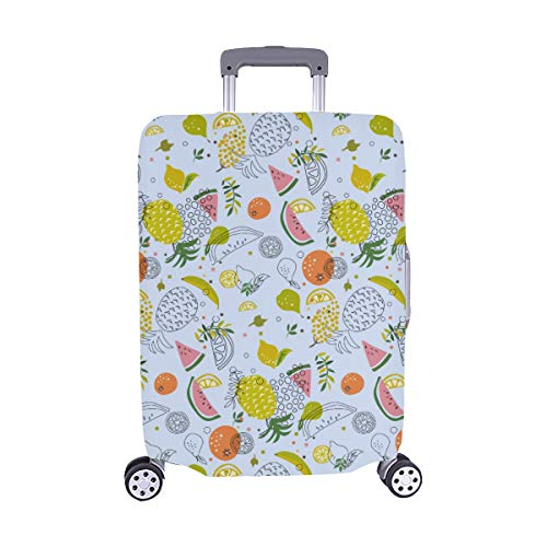 Cute Abstract Pattern With Tropical And Exotic Fru Pattern Spandex Trolley Case Travel Luggage Protector Suitcase Cover 28.5 X 20.5 Inch