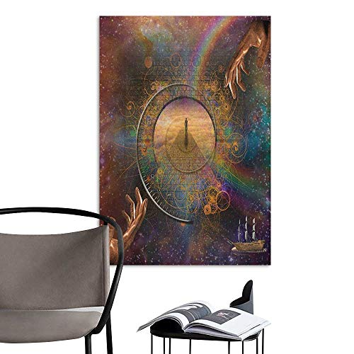 Wall Art Canvas Prints Magical Double Exposure Outer Space Mixed with Earth Symbolic Eternity Details Artsy Print Purple Tan Removable Kitchen W8 x H10