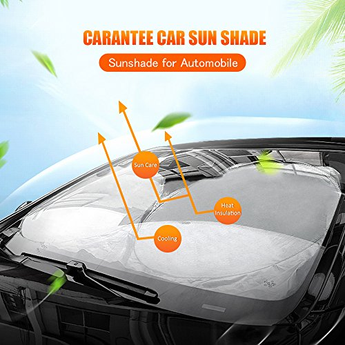 CAREANTEE Windshield Sun Shade - 100% UV Ray Reflector Car Sunshade, 210T fabric(highest quality), Foldable, Heat Insulation, Portable, Best for Compact Cars, Midsize Sedans and SUVs(Classic 60 x 28)