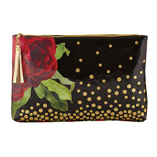 SB Design Studio Santa Barbara Oil Cloth Bag, 14.5 x 9 x 2, Black Gold (Chipboard Home)