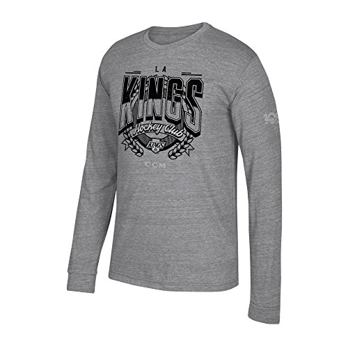 adidas NHL Los Angeles Kings Centennial Fly High Tri-Blend Long Sleeve Tee, XX-Large, Dark Grey Heathered