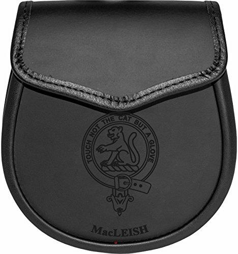 MacLeish Leather Day Sporran Scottish Clan Crest