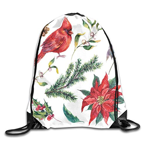 Unisex Drawstring Bag Gym Bags Storage Backpack,Watercolor Christmas Flora And Fauna Pinecone Spruce Branch And Red Cardinal -