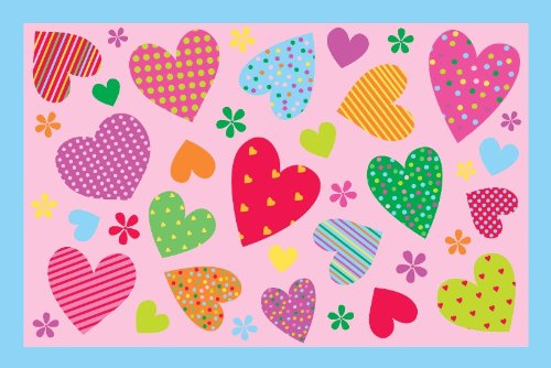 Fun Rugs Hearts 19 In. x 29 In. Kid's Pink Area Rug 29' Nylon Rug