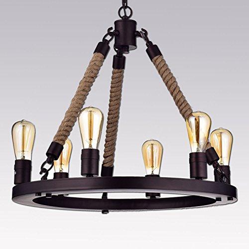 CLAXY Ecopower Vintage Oil Rubbed Bronze Metal & Hemp Rope Chandeliers Pendant Lighting — 6-lights