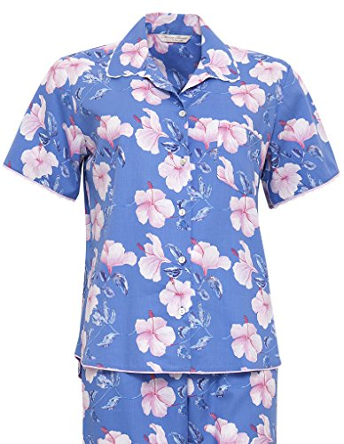 Cyberjammies 1162 Women's Nora Rose Blue and Pink Floral Cotton and Modal PJ Pyjama Set