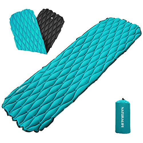 Naturalife Easy-Inflating Sleeping Pad for Camping, Backpacking & Hiking, Blue-Green Top and Black Bottom by Naturalife