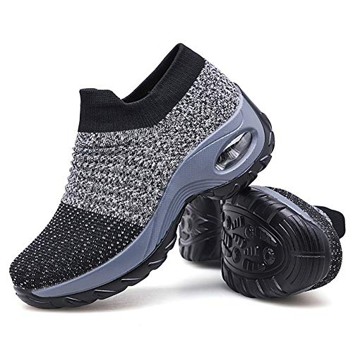 Women's Walking Shoes Sock Sneakers - Mesh Slip On Air Cushion Lady Girls Modern Jazz Dance Easy Shoes Platform Loafers Grey,5