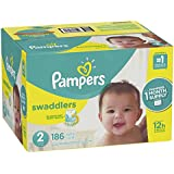Pampers Swaddlers Disposable Diapers Size 2, 186 Count