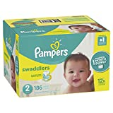 Pampers Swaddlers Disposable Diapers Size 2, 186 Count, ONE MONTH SUPPLY