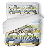 Emvency 3 Piece Duvet Cover Set Breathable Brushed Microfiber Fabric Boy Animals Hand Drawn Artwork Graphic Wild Africa Alligator Beautiful Bird Color Bedding Set with 2 Pillow Covers Twin Size