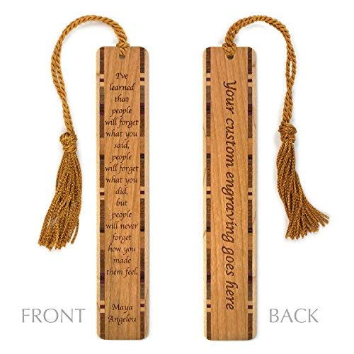Personalized Feelings Quote by Maya Angelou Engraved Wood Bookmark With Inlays and Tassel - Search B072MSCKCP to see non personalized version