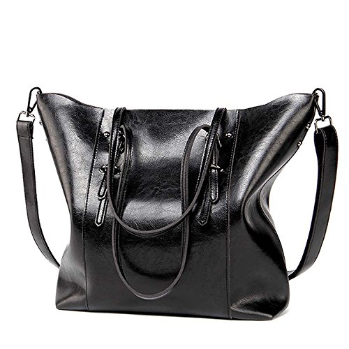 - 2018 Hot Luxury Brand Women Shoulder Bags Big Bucket Bag Soft Pu Leather Female Casual Tote Wild Messenger Bag Casual Ladies Handbag (Color Black)