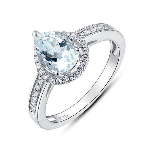 - BL Jewelry Sterling Silver Pear Cut Genuine Natural Aquamarine Halo Ring (5)