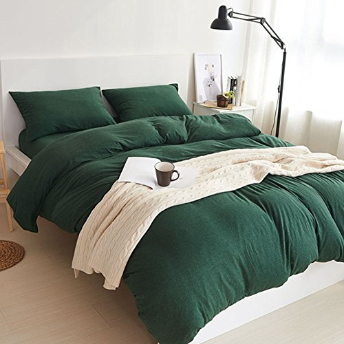 MisDress Jersey Knit Cotton 3 Pieces Duvet Cover Set Ultra Soft Comforter Cover and Pillow Shams Solid Dark Green Bedding Set Full Queen (Green Queen Comforter Set)