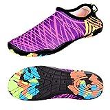 Celaine Water Shoes Aqua Socks Fits Men and Women for Summer Outdoor Beach Surf Yoga Exercise Swimming Pool (XXXL: US Women:13-14/Men:10.5-11, Pink Zig-Zag Stripes)