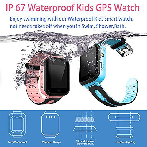 Waterproof Smart Watch Phone for Kids - IP67 Waterproof GPS Tracker with SOS Voice Chat Camera Flashlight Alarm Clock Digital Wrist Watch Smartwatch Girls Boys Birthday Christmas Thanksgiving Gifts