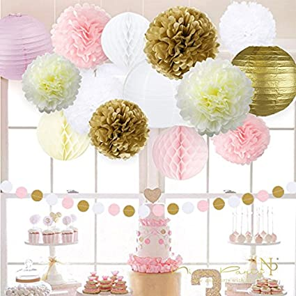 Pink and Gold Birthday Decorations Happy Birthday Banner,Paper Garland,Hanging Swirl for 1st Birthday Girl Decorations Kids Birthday by Sogorge Pom Poms Flowers Kit