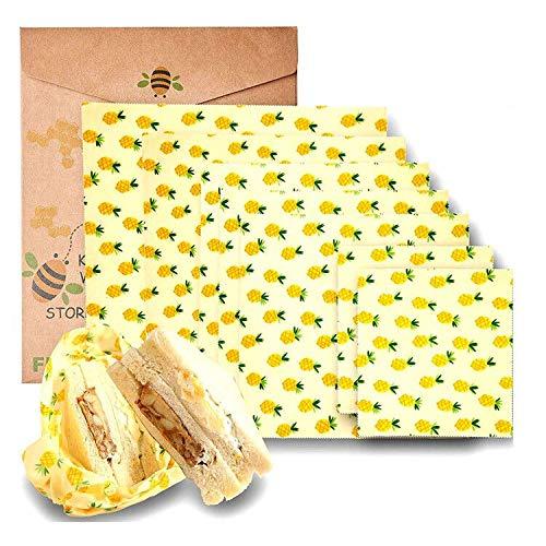 Set di involucri in cera d'api per alimenti biologici, per evitare sprechi di formaggio e panini, in plastica sostenibile, lavabili C