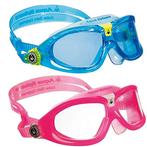 Aqua Sphere Seal Kid2 Swim Goggles with Clear Lens. Set of 2 UV Protection Anti-Fog Swimming Goggles for Kids (Pink and Blue) (Aqua Sphere Seal Kid Swim Goggle)