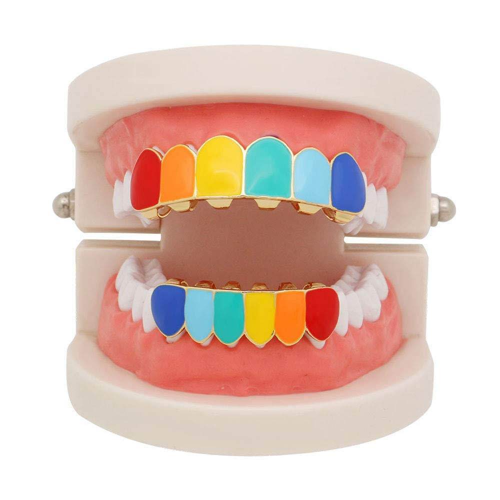 TAOtTAO Rainbow Hip Hop Teeth Top Bottom Tooth Grill Set Copper Tooth Cap Jewelry Teeth (Gold)