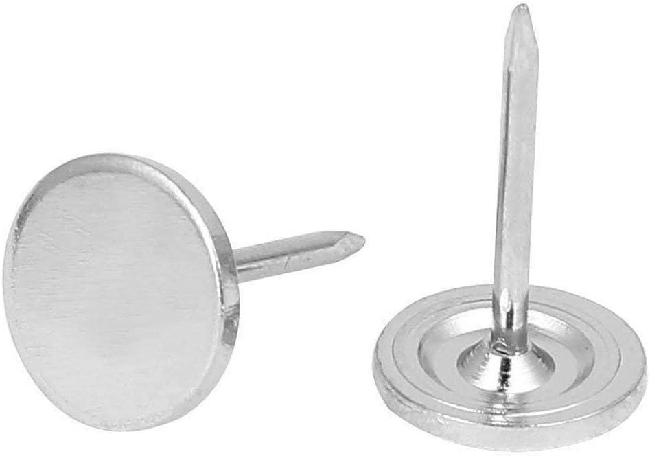 Sydien 11mm Dia Flat Head Upholstery Nails Decorative Furniture Tack 200 Pcs (Silver Tone 11x17mm)