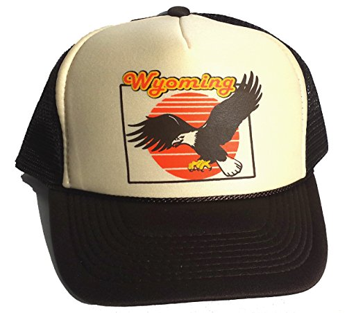 Wyoming Eagle Mesh Trucker Hat Cap Snapback Brown Tan