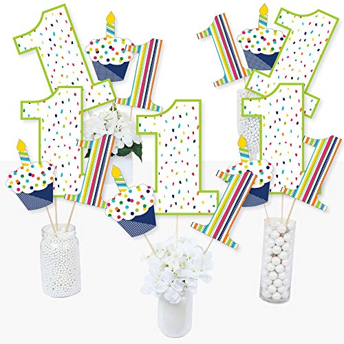 1st Birthday - Cheerful Happy Birthday - Colorful First Birthday Party Centerpiece Sticks - Table Toppers - Set of 15 ()