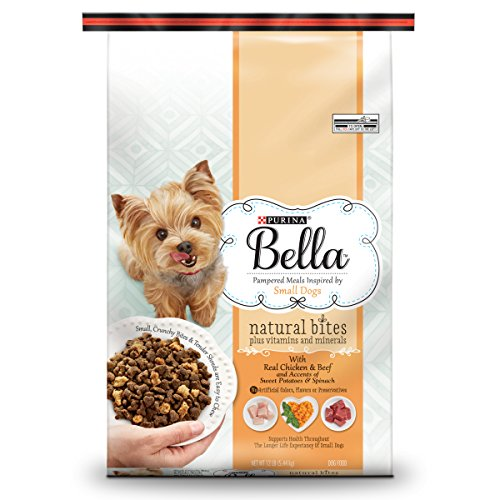 Purina Bella Natural Bites Plus Vitamins and Minerals With Real Chicken & Beef and Accents of Sweet Potatoes & Spinach Adult Dry Dog Food 12 lb Bag, Pack of 1