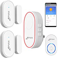 CPVAN Door Chime, WiFi Door Window Alarm, DIY Home Security Protection, 1 Base Station, 2 Door Sensors, 1 Door Chime…