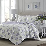 3 Piece Fresh Floral Patterned Reversible Quilt Set King Size, Printed Scenic Lilac Garden Blossom Flowers Themed Bedding, Nature Lover Design, Artistic Wild Flowery Girls Bedroom, Lavender, Purple