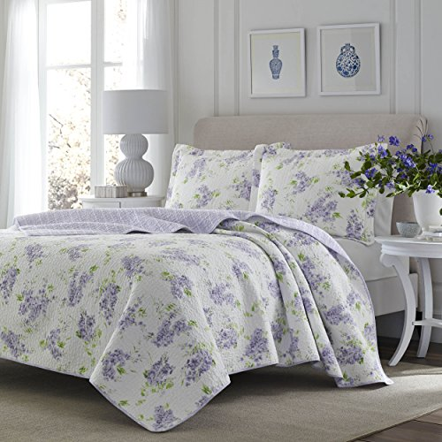 (3 Piece Fresh Floral Patterned Reversible Quilt Set Full/Queen Size, Printed Scenic Lilac Garden Blossom Flowers Themed Bedding, Nature Lover Design, Artistic Flowery Girls Bedroom, Lavender, Purple )