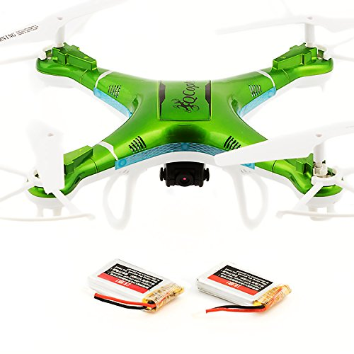 QCopter-QC1-Drone-Quadcopter-with-HD-Camera-LED-Lights-Green-Drones-BONUS-BATTERY-2X-FlightTime