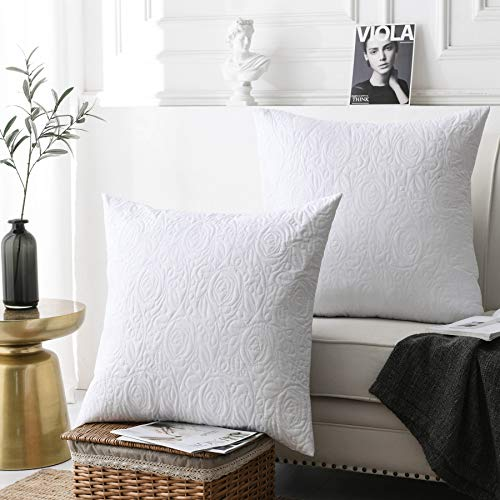 MarCielo 2 Pack Euro Sham Covers Euro sham 26x26 Euro Sham White 26 x 26 inches -