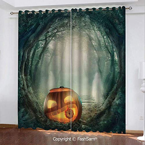 Blackout Curtains Set Room Darkening Drapes Scary Halloween Pumpkin Enchanted Forest Mystic Twilight Party Art Window Curtains for Living Room(55