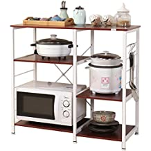 "Dland Microwave Cart Stand 35.4"", Kitchen Utility Storage 3-Tier+3-Tier for Baker's Rack & Spice Rack Organizer Workstation Shelf, 171-R Red, 1 Pack"