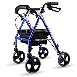 Nationwel@ Folding Rollator Walker - 4 Wheel Medical Rolling Walker Storage Basket