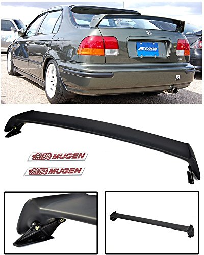 (VXMOTOR for 1996-2000 Honda Civic 4 Door 4DR Sedan Mugen Style ABS Plastic Rear Trunk Lip Wing Spoiler + Red)