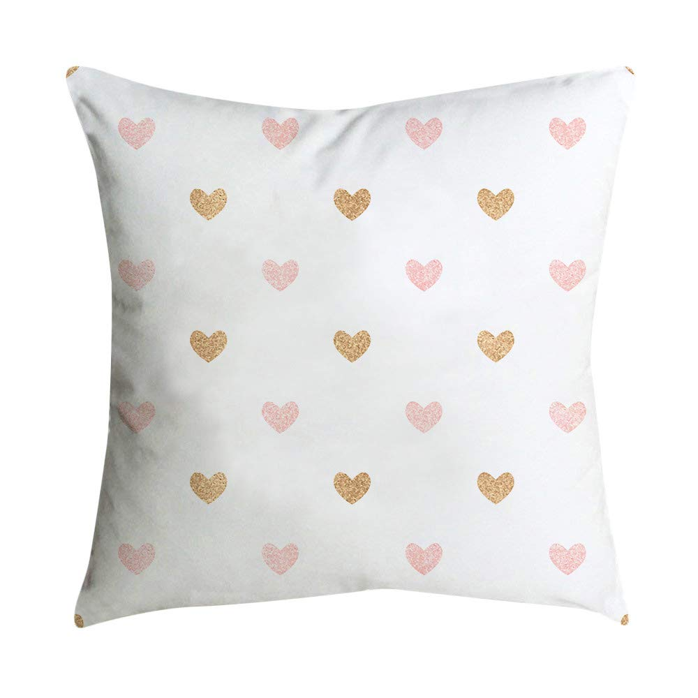 Hattfart Pink Fresh Style Beautiful Cotton Linen Blend Printed Cushion Cover Cotton Couch Throw Pillow Case Pillowcase (F)