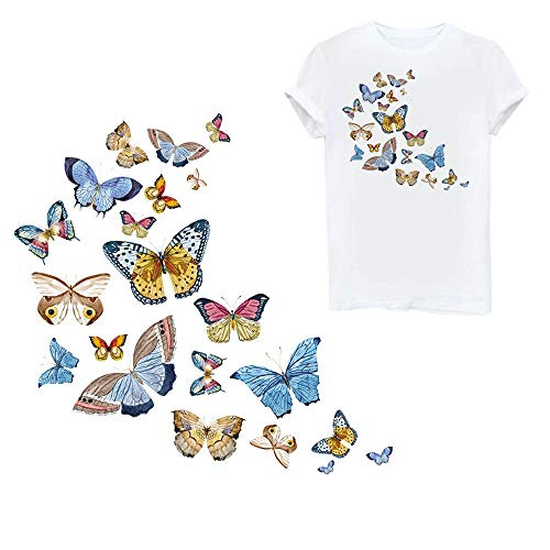 Butterfly Iron On Patches Heat Transfer Stickers Cute Appliques Repair and Decorate for Clothes Jackets Hats Backpacks Jeans,Kids Boys Girls with Waterproof A-Level Washable(1 Pcs 21 Patterns)