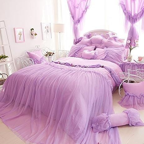 Amazon.com: Cute Girl Bed Set 100% Cotton Princess Ruffled Lace ...