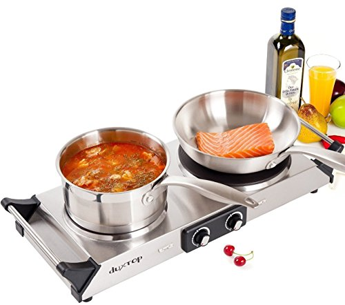 - Duxtop Hot Plate Double Cast-Iron Electric Burner Cooktop with Adjustable Temperature Control, 1800W, Metal Housing, Indicator Light(2 year warranty)