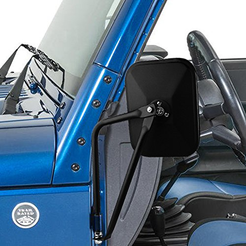 PROAUTO Square Doors 4x4 Doorless Wrangler Side Qucik Release Mirrors for Jeep TJ JK-JKU CJ JL-1 Pair, Textured Black, 2 Pack - Jeep Cj Owners Manual